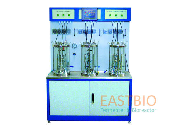 Multiple Lab Scale Bioreactor Magnetic Stirred Glass Fermenter 4 Peristaltic Pumps